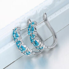 925 Silver Filled Waterdrop Blue Sapphire CZ Studs Earrings Exquisite Jewelry