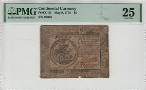 MAY 9 1776 $5 CONTINENTAL CURRENCY NOTE CC-35 PMG VERY FINE 25 (010)