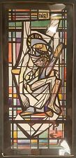 VINTAGE QUEEN OF HEAVEN MAUSOLEUM STAINED GLASS PAINTING DAPRATO CHICAGO OUTFIT