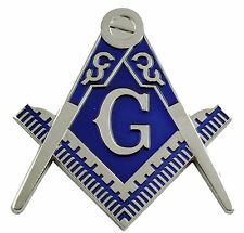 Chrome Silver Master Mason Auto Cut Out Car Emblem for Blue Lodge Freemasonry