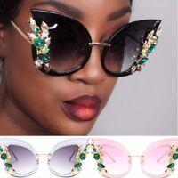 Oversized Sunglasses Green Diamond Crystal Cat Eye Women Brand Glasses Designer