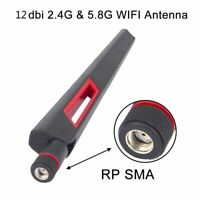 2 X New Dual Band 2.4 5Ghz 12dBi RP-SMA High Gain Antenna Router WiFi Wireless