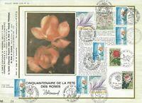 FEUILLET CEF 1er JOUR FRANCE CINQUANTENAIRE DE LA FÊTE DES ROSE 1977