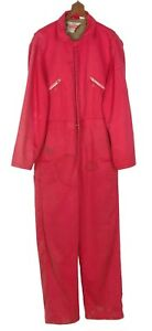Vtg WALLS Blizzard Pruf Coveralls Insulated Outerwear 34-36 Small Red Zip & Snap