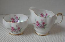 Vintage Queen Anne China MINI CREAMER & SUGAR Pink Purple Flowers #272 Cream