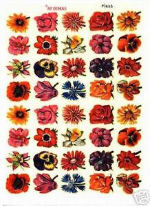 40 Abziehbilder | Blumenmotive | 1 Bogen ART DECO-CALS - pa003