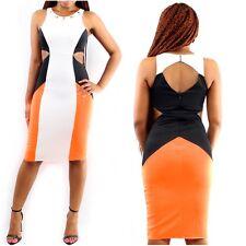 L@@K Neon Orange Color Block Cutout Bodycon Midi Dress - Medium - US 4-6
