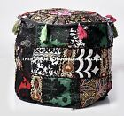 "18"" Black Round Ottoman Pouf Foot Stool Chair Moroccan Pouffe Indian Decor Cover"
