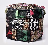 """18"""" Black Round Ottoman Pouf Foot Stool Chair Moroccan Pouffe Indian Decor Cover"""