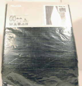 """NEW Ikea Felicia Curtains 57X98"""" Gray/Green with Gold including Tie-Backs"""