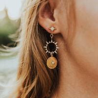 Sun Long Drop Earrings Design Dangle Bohemia Women's Gold Wedding Jewelry Gift