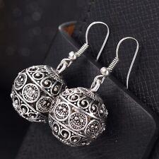 Silver Tibetan Ball Carving Ethnic Hippy Bohomian Drop Dangle Pendant Earrings