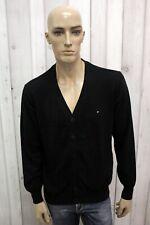 TOMMY HILFIGER Cardigan Uomo Taglia L Maglione Nero Casual Sweater Pullover