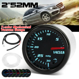 "Universal 2"" 52mm 7 Color LED Auto Mechanical Vacuum Intake Gauge Meter Black"
