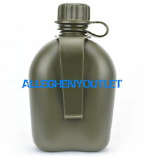 US Military Hard Plastic Canteen W Belt Clip OD Green BPA