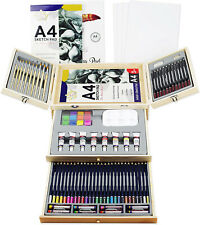 Deluxe Art Supplies, 83 Piece Art Set in Portable Wooden Case, with 2 Drawing 4