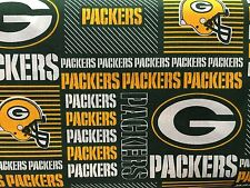"""GREEN BAY PACKERS NFL 60"""" WIDE COTTON FABRIC BYT HALF YARD Fabric Traditions pw"""