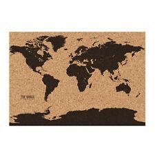 "Corkboard World Map Earth Cork Board 22.8"" x 32.2"" Pins Rolled in Tube"