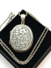 Antique Victorian Large Sterling Silver Bright Cut Oval Floral Locket Pendant