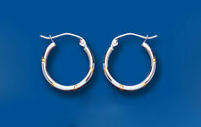 Hoop Earrings White and Yellow Gold Two Tone Creole 16mm Hallmarked