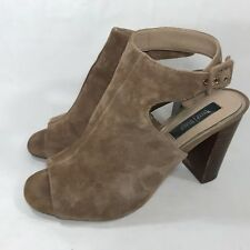 White House Black Market Sz 9.5 Tan Suede Ankle Strap Peep High Heel Sandal Pump