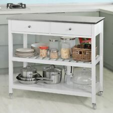 SoBuy® White Wood Kitchen Trolley Cart Island with StainlessSteel Top,FKW47-W,UK