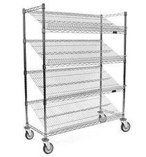 "Eagle Group 36"" Mobile Bakery Angled Shelf Merchandising Cart Chrome - M1836C-4"