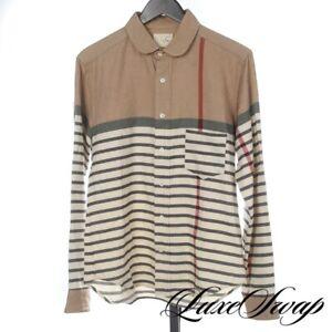 TM Made in Japan Cashmere Mix Camel Ivory Multi Split Stripe Button Down Shirt 3