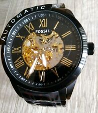 New Fossil Skeleton Automatic Black Ion Stainless Steel Men's Watch BQ2092 $245