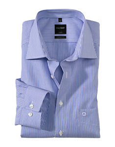 Camicia Olymp a righe Azzurro Puro Cotone Stiratura Facile Modern Regular Fit