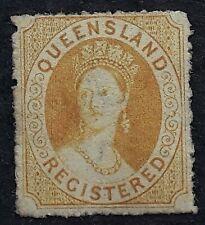 1864 Queensland Australia Orange Yellow 6d REGISTERED Stamp Mint