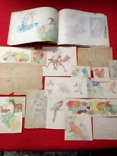 ANTIQUE DRAWING BOOK  / 14 PAGES WATERCOLOR, 16 LOOSE PAINTINGS / TO AUNTIE MORY
