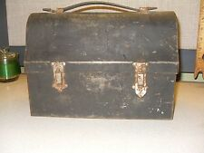 Antique Vintage Metal Lunch Box and Thermos with Leather Handle