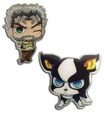 **Legit** JoJo Advanture SD Iggy & Joseph Joestar Authentic Anime Pin Set #50599