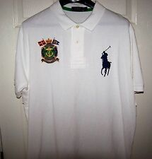 Polo Ralph Lauren Marine Supply Mesh Shirt XL White w/Navy Big Pony $125 NWOT