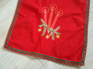 Vintage German Red Christmas Embroidered Tablecloth Table runner Xmas