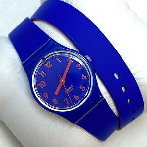 Swatch BIKO BLOO Lady Blue Pink Double Wrap Silicone Strap LS115 Summer Buzz