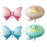 1-10pcs Hello Baby Printed Foil Balloons Bow Shape Helium Balloon Baby Shower D