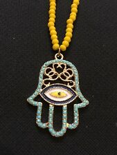 Nazar evil eye hand necklace Turkey yellow and turquoise beads gold filigree