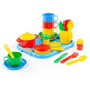 WADER Kochset Geschirrset Spielgeschirr Spielzeug Kindergeschirr auf Tablett