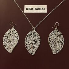 New Women's Silver Leaf Pendant Chain Necklace And Earring Set