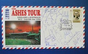 1998 THE ASHES TOUR ENGLAND v AUSTRALIA COVER SIGNED BY ENGLAND TOURING TEAM