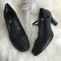 Etienne Aigner Womens 8M Black Leather Heel Pumps Mary Jane Strap Shoes