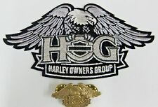 "HARLEY OWNERS GROUP ""HOG"" SMALL SILVER EAGLE PATCH & PIN SET"