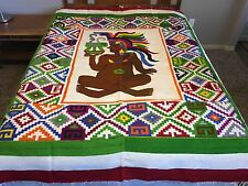 Mayan Zapotec Aztec Rug Blanket Wool Colorful 59 x 83