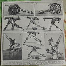 Ancienne Planche Vignette 1931 Mitrailleuses Maxim Hotchkiss Canon Reffye