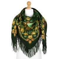 """AUTHENTIQUE """"Yeux noirs"""" Foulard Châle Russe Pavlovo Possad en laine 125x125 cm"""