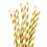 25pc 50pc Gold & White Foil Paper Drinking Straws Birthday Wedding Party Hen
