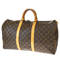 AUTH LOUIS VUITTON KEEPALL 50 HAND BAG MONOGRAM LEATHER BROWN M41426 76MD896