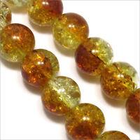 Lot de 20 Perles Craquelées en verre 12mm Bicolore Topaze Cristal